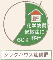 シックハウスが60%のグラフ